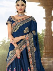 Woven Jacquard Silk Navy Blue Designer Lehenga Choli