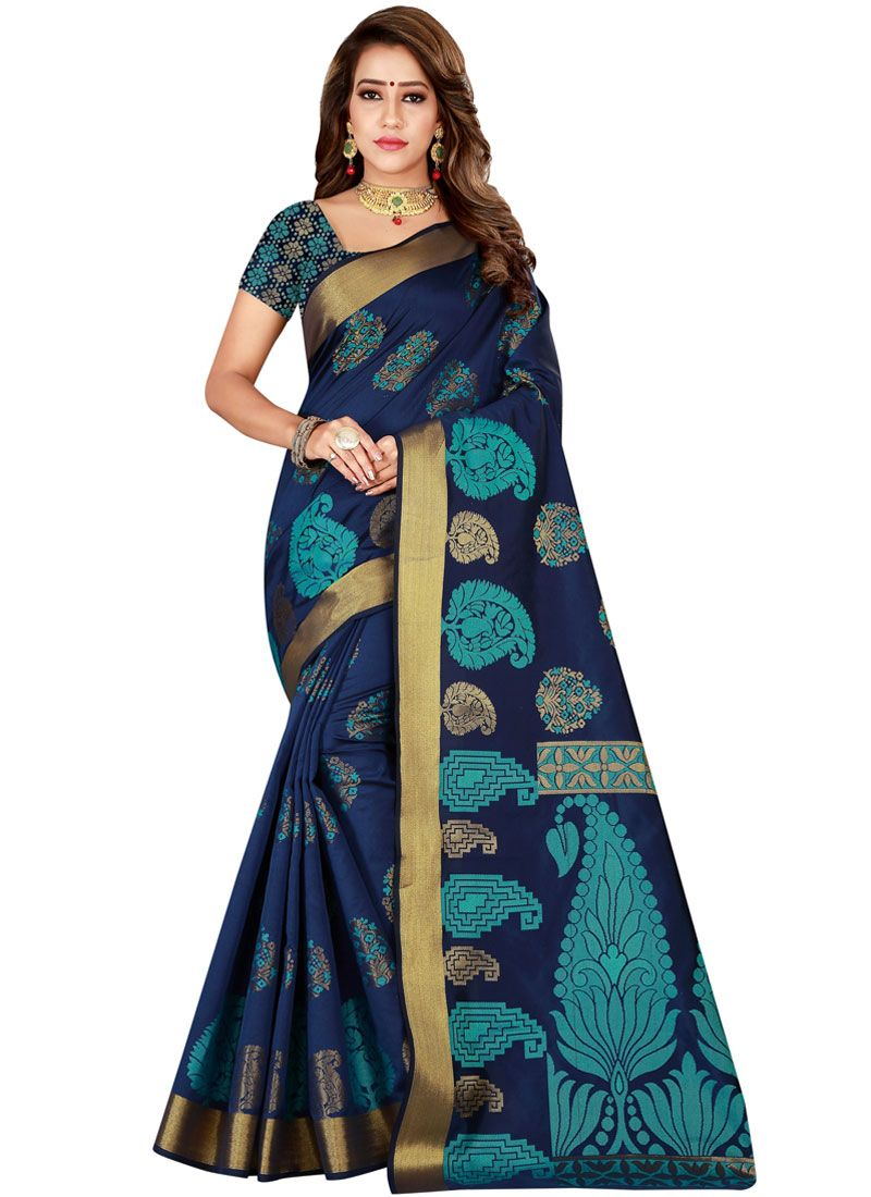 Woven Kanchipuram Silk Blue Classic Saree
