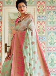 Woven Linen Sea Green Traditional Designer Saree