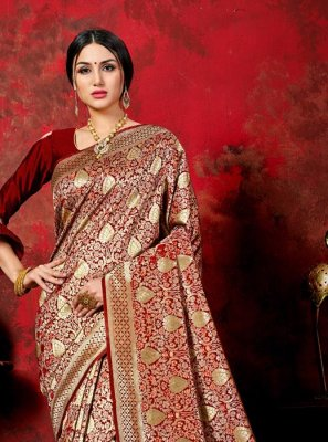 Woven Maroon Banarasi Silk Traditional Saree