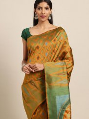 Woven Mustard Art Silk Designer Traditional Saree