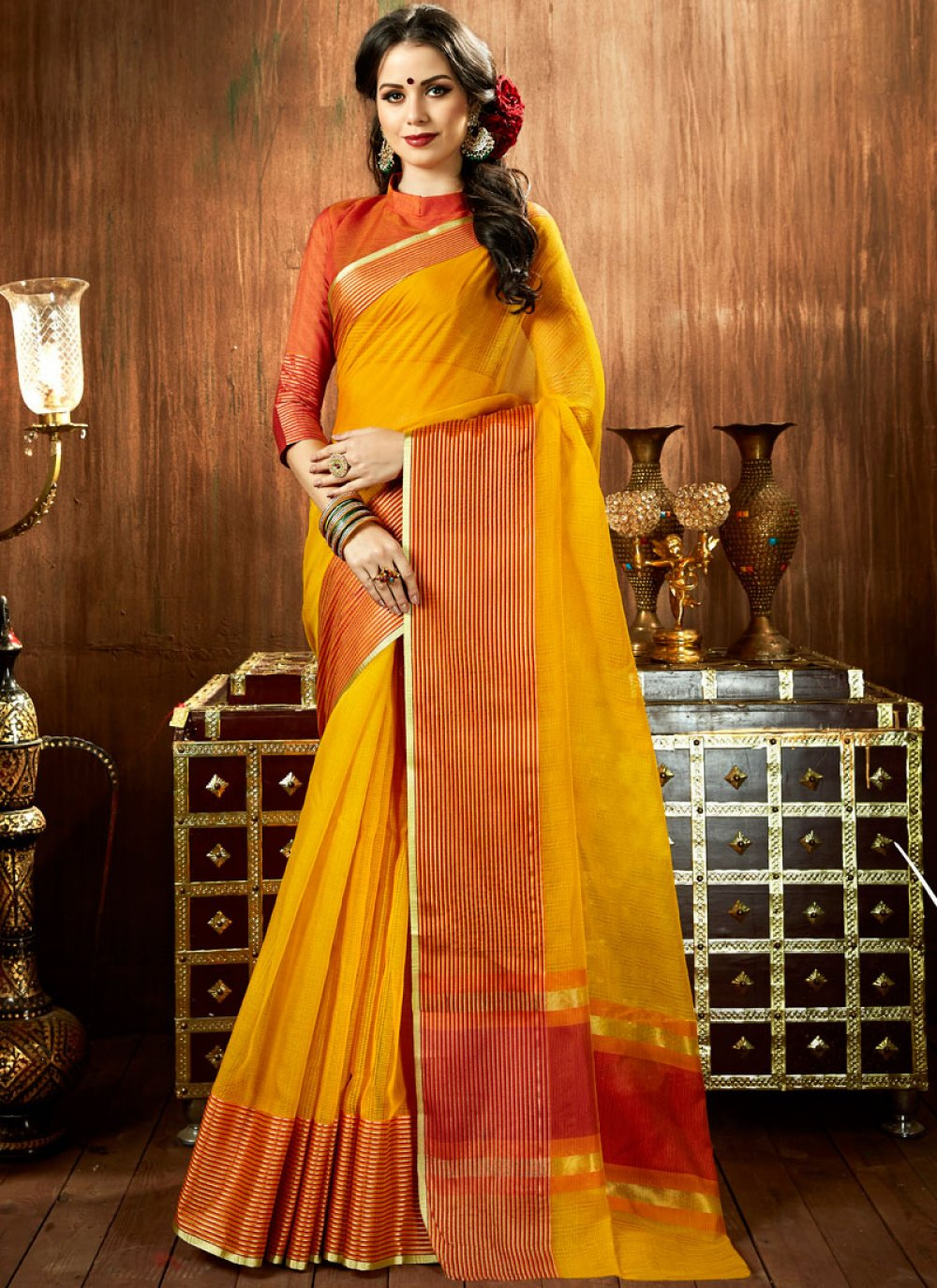 Woven Mustard Cotton Silk Designer Traditional Saree