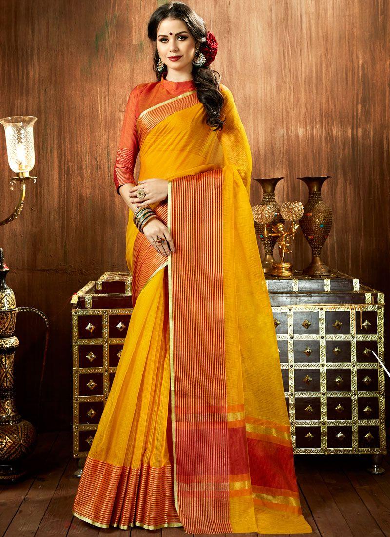 Woven Mustard Cotton Silk Designer Traditional Saree