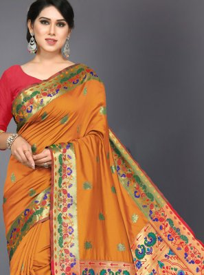 Woven Mustard Traditional Designer Saree
