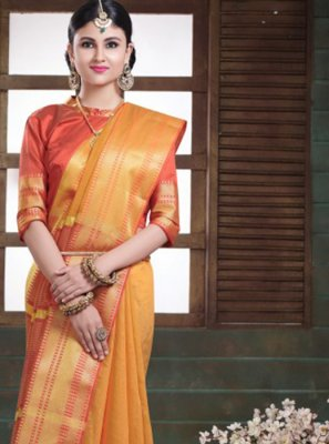 Woven Mustard Traditional Saree