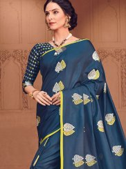 Woven Navy Blue Art Silk Designer Traditional Saree