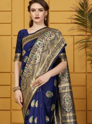 Woven Navy Blue Art Silk Traditional Saree