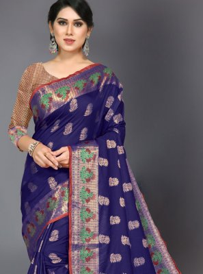 Woven Navy Blue Designer Traditional Saree