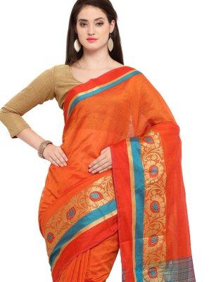 Woven Orange Cotton Silk Traditional Saree