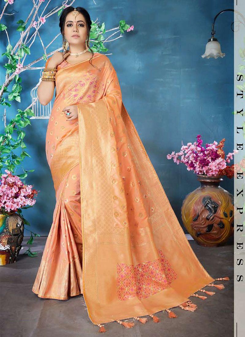 Woven Peach Classic Saree