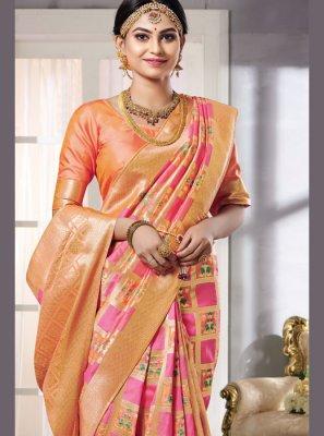 Woven Pink Art Silk Classic Saree