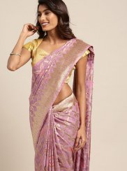 Woven Pink Designer Traditional Saree