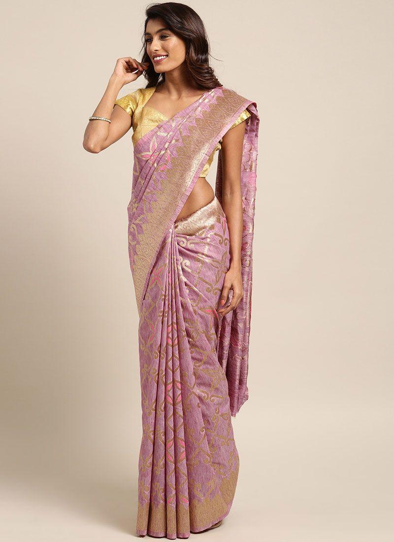 Woven Pink Designer Traditional Saree