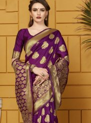 Woven Purple Traditional Saree