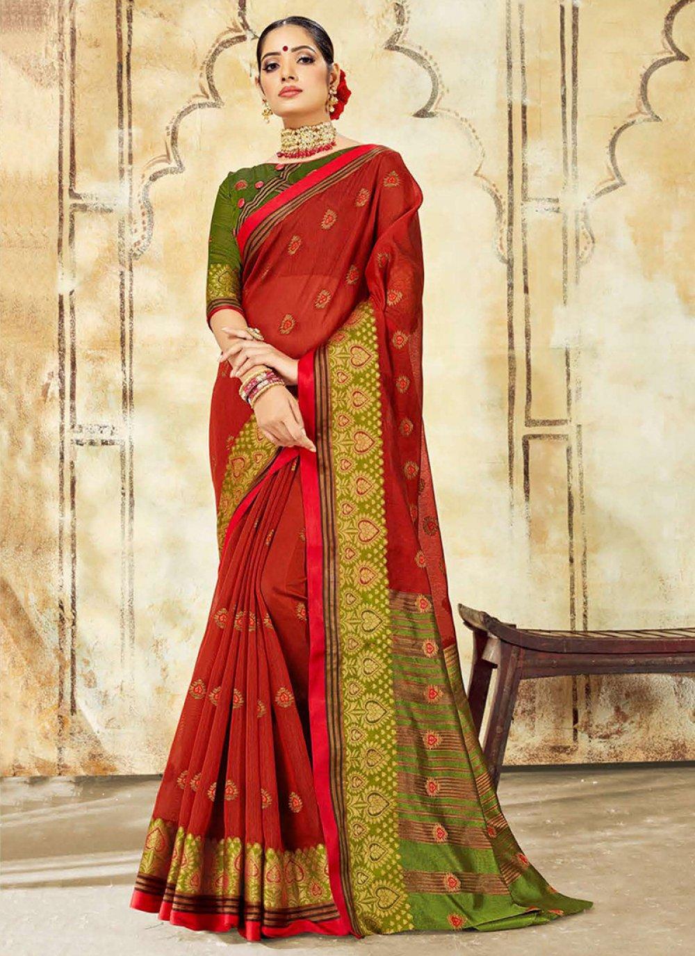 Woven Red Cotton Silk Designer Traditional Saree