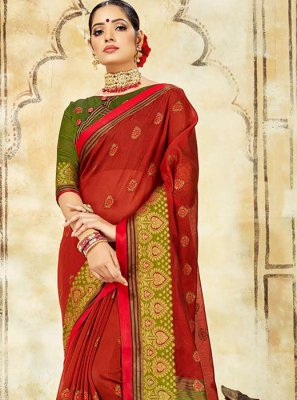 Woven Red Cotton Silk Designer Traditional Saree