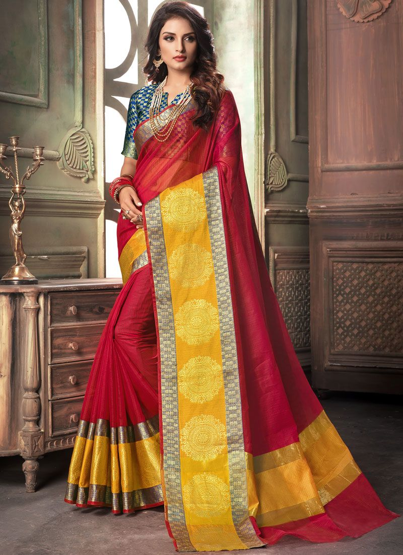Woven Red Cotton Traditional Saree