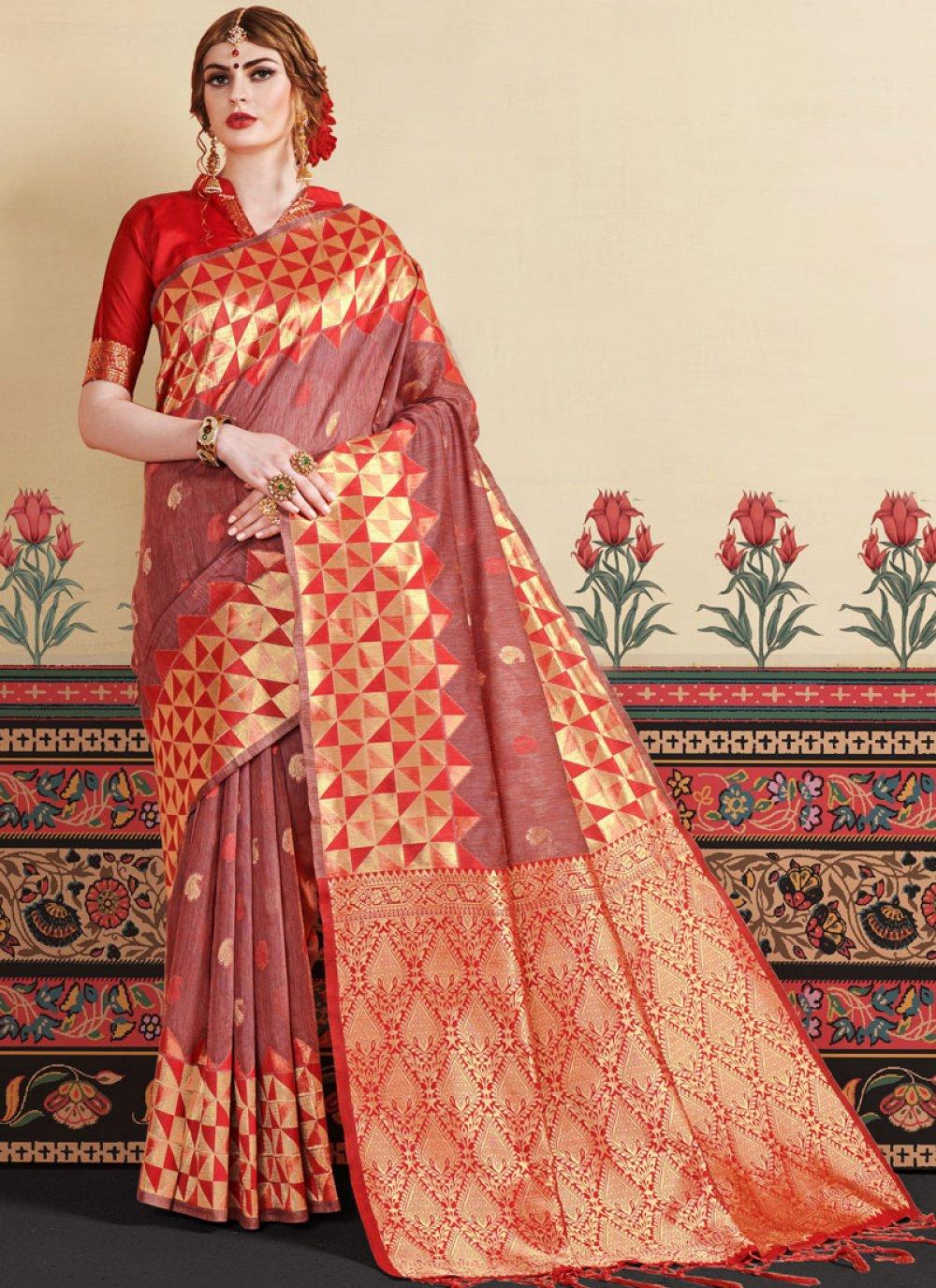 Woven Rust Art Silk Trendy Saree