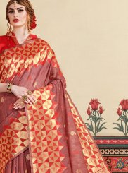 Woven Rust Art Silk Trendy Saree