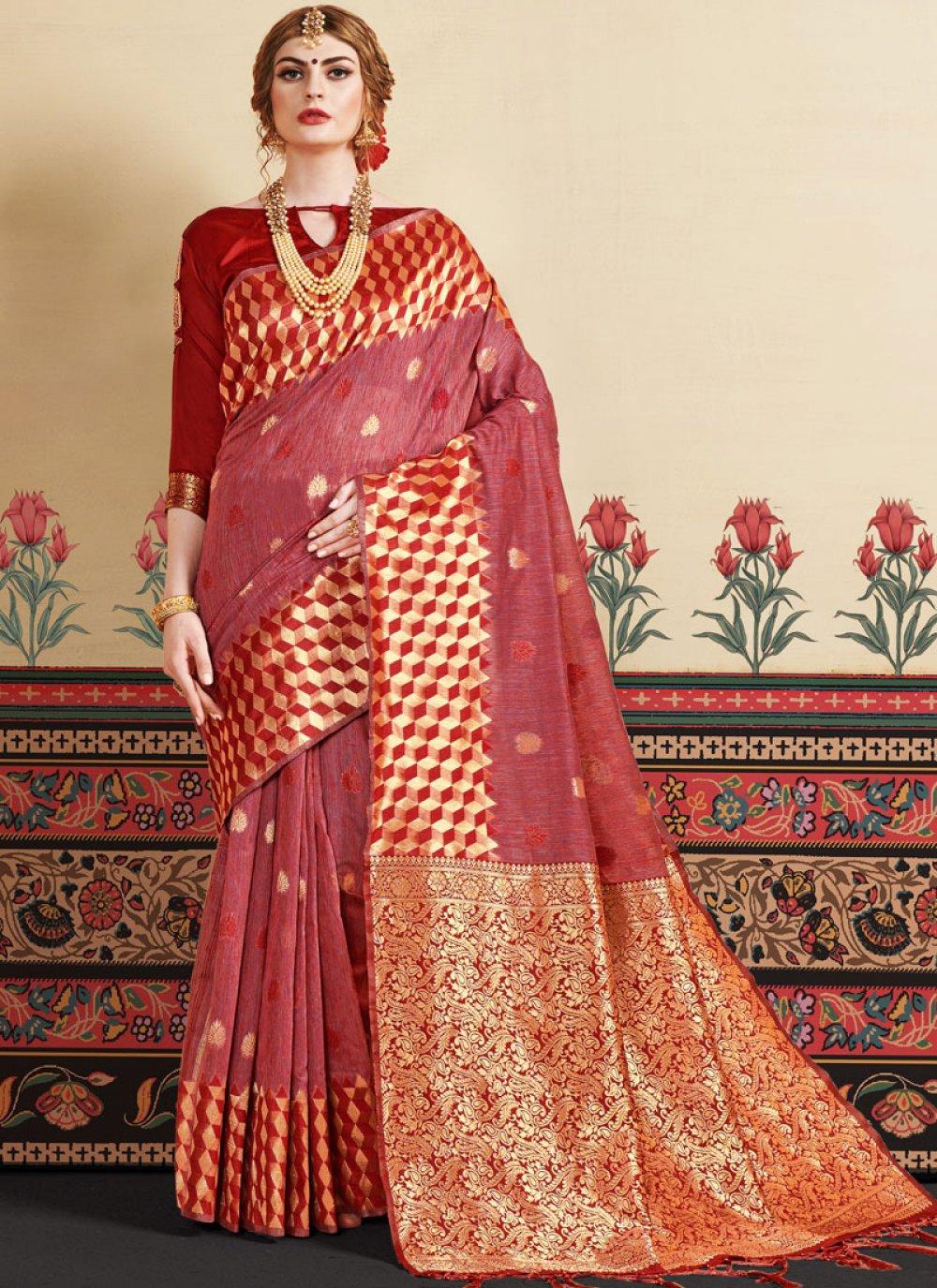Woven Rust Designer Traditional Saree
