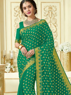 Woven Sea Green Designer Traditional Saree