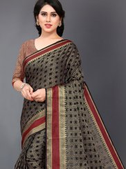 Woven Silk Casual Saree in Black