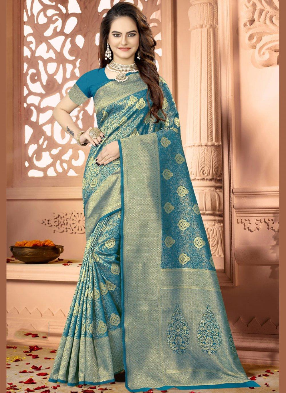 Woven Teal Art Silk Traditional Saree