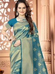 Woven Teal Art Silk Traditional Saree