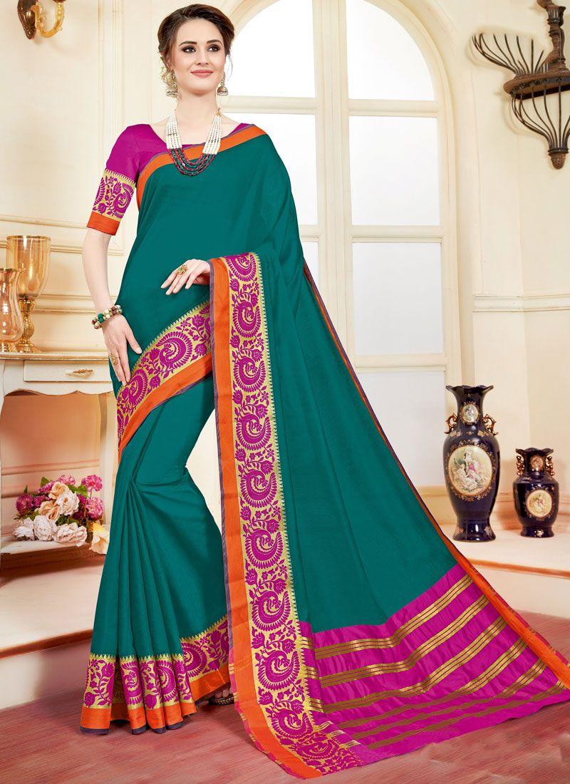 woven Work Cotton Silk Casual Saree