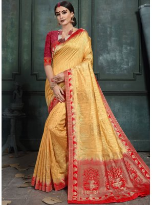 Yellow Abstract Print Art Silk Classic Saree