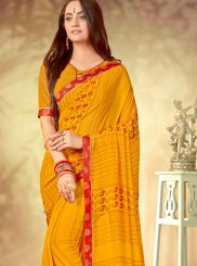 Yellow Abstract Print Casual Printed Saree