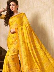 Yellow Abstract Print Faux Chiffon Printed Saree