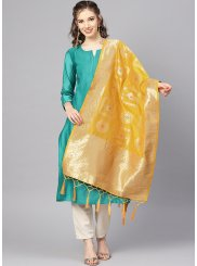 Yellow Art Banarasi Silk Machine Embroidery  Designer Dupatta