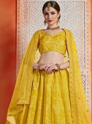 Yellow Art Silk A Line Lehenga Choli