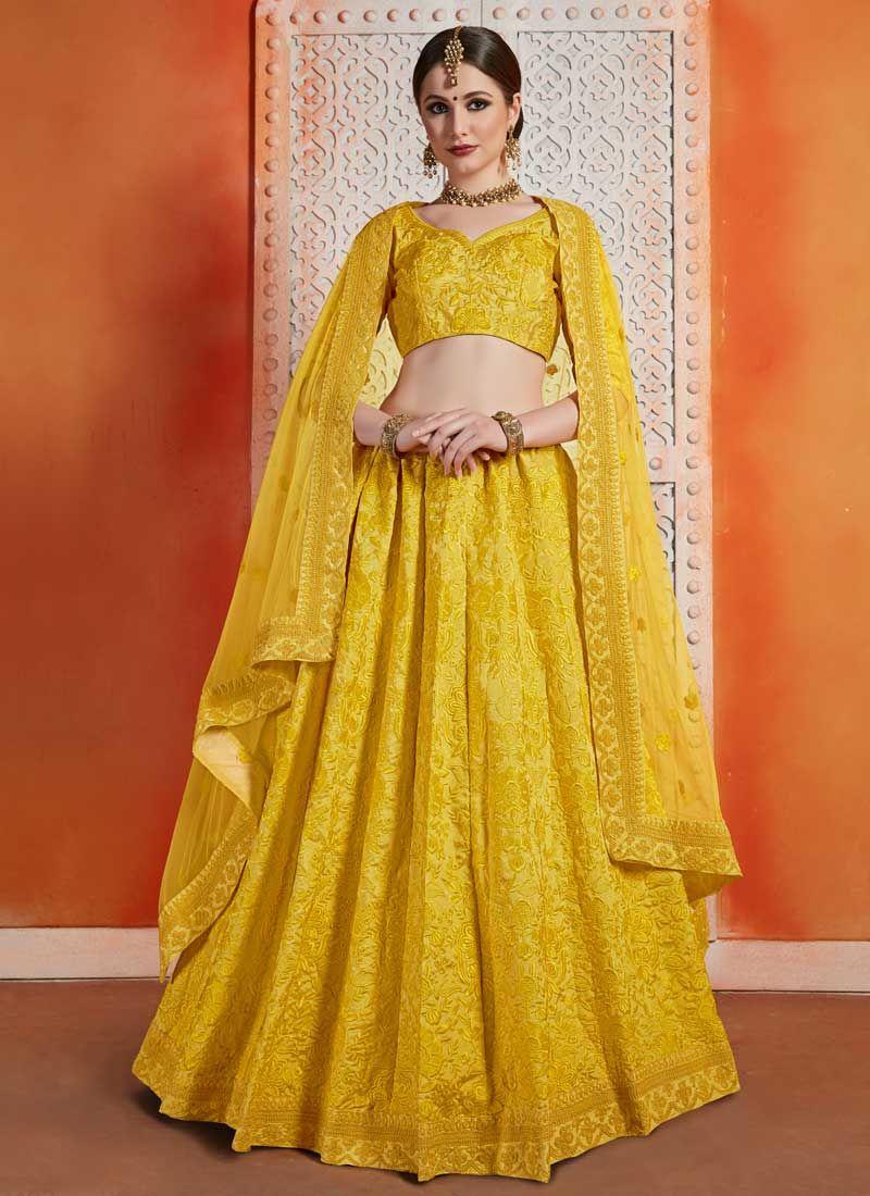 Yellow Art Silk A Line Lehenga Choli