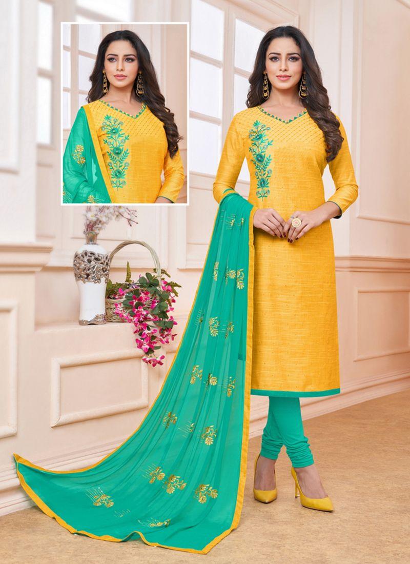 Yellow Art Silk Churidar Suit