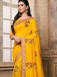 Yellow Art Silk Embroidered Traditional Saree