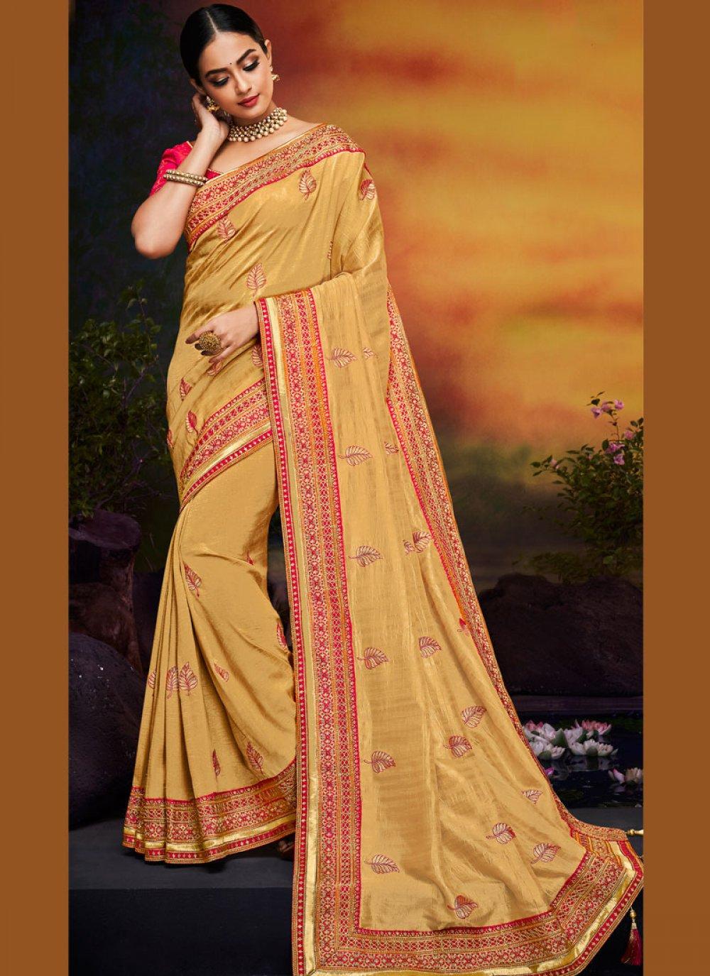 Yellow Art Silk Festival Traditional Designer Saree