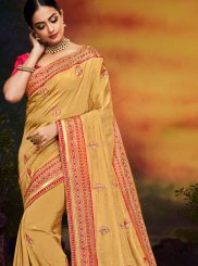 Yellow Art Silk Festival Traditional Designer Saree