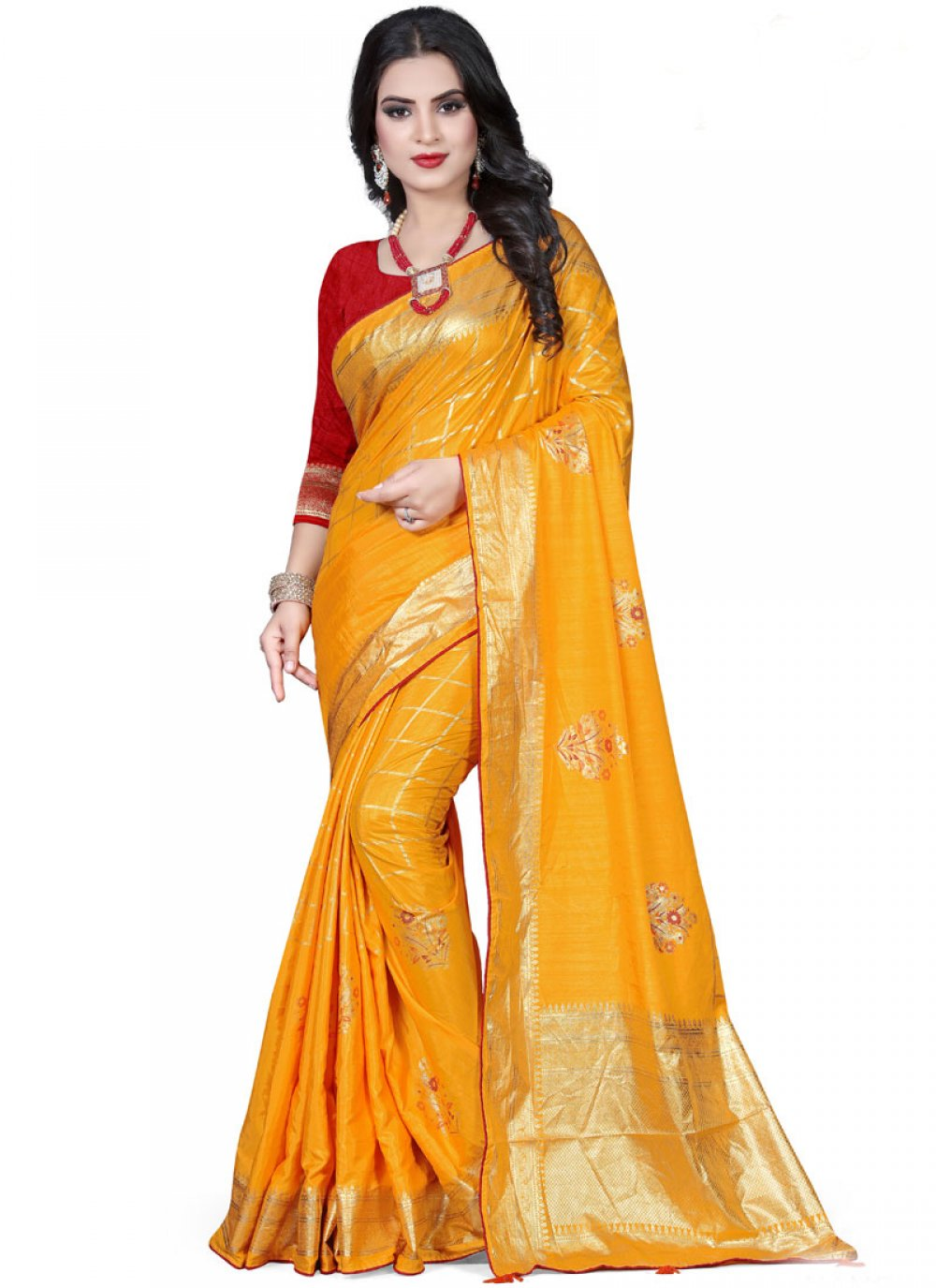 Yellow Art Silk Foil print Traditional Designer Saree
