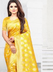 Yellow Art Silk Party Traditional Saree