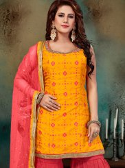 Yellow Art Silk Readymade Suit