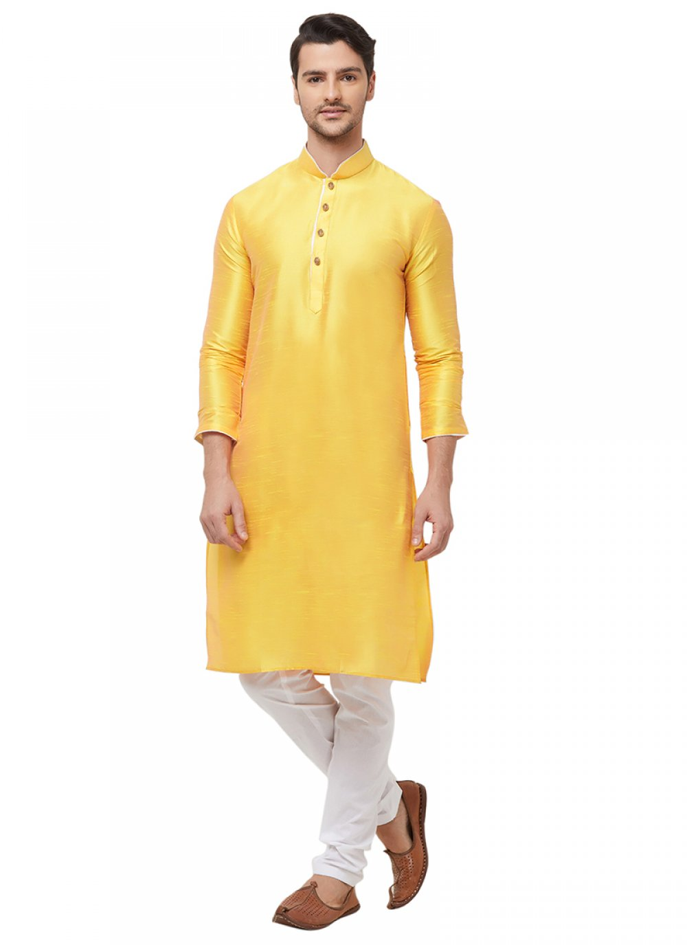 Yellow Art Silk Sangeet Kurta Pyjama