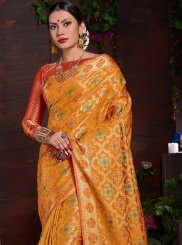Yellow Art Silk Traditional Saree