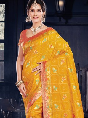 Yellow Art Silk Weaving Designer Traditional Saree