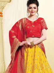 Yellow Art Silk Woven Lehenga Choli