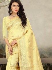 Yellow Art Silk Zari Traditional Designer Saree