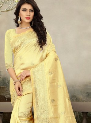 Yellow Art Silk Zari Traditional Designer Saree