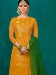 Yellow Banarasi Silk Churidar Suit