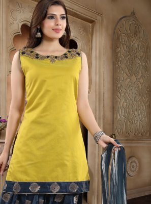Yellow Banglori Silk Readymade Suit